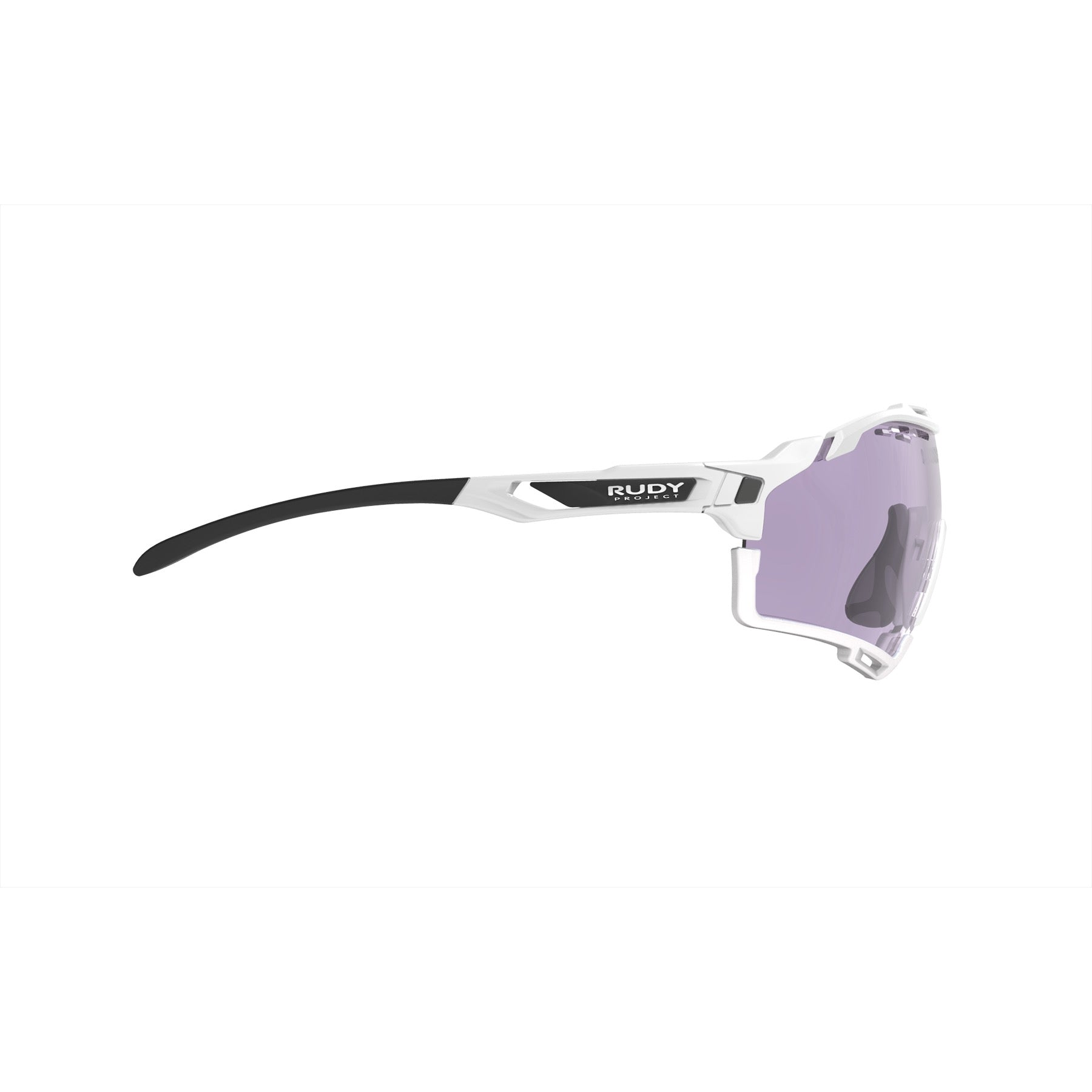 Rudy Project - Cutline - frame color: White Gloss - lens color: ImpactX-2 Photochromic Clear to Laser Purple - Bumper Color: White - photo angle: Side Variant Hover Image