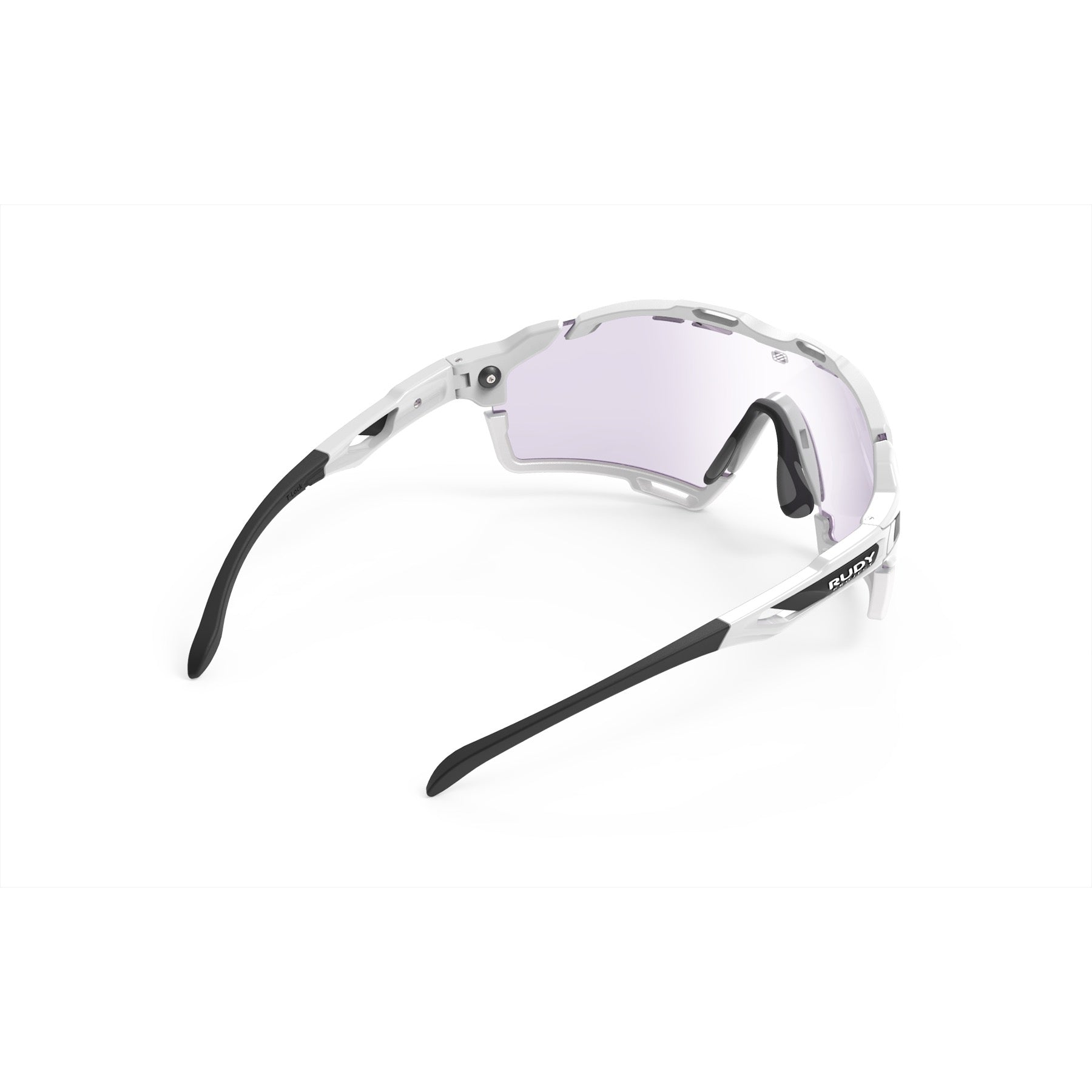 Rudy Project - Cutline - frame color: White Gloss - lens color: ImpactX-2 Photochromic Clear to Laser Purple - Bumper Color: White - photo angle: Top Back Angle Variant Hover Image