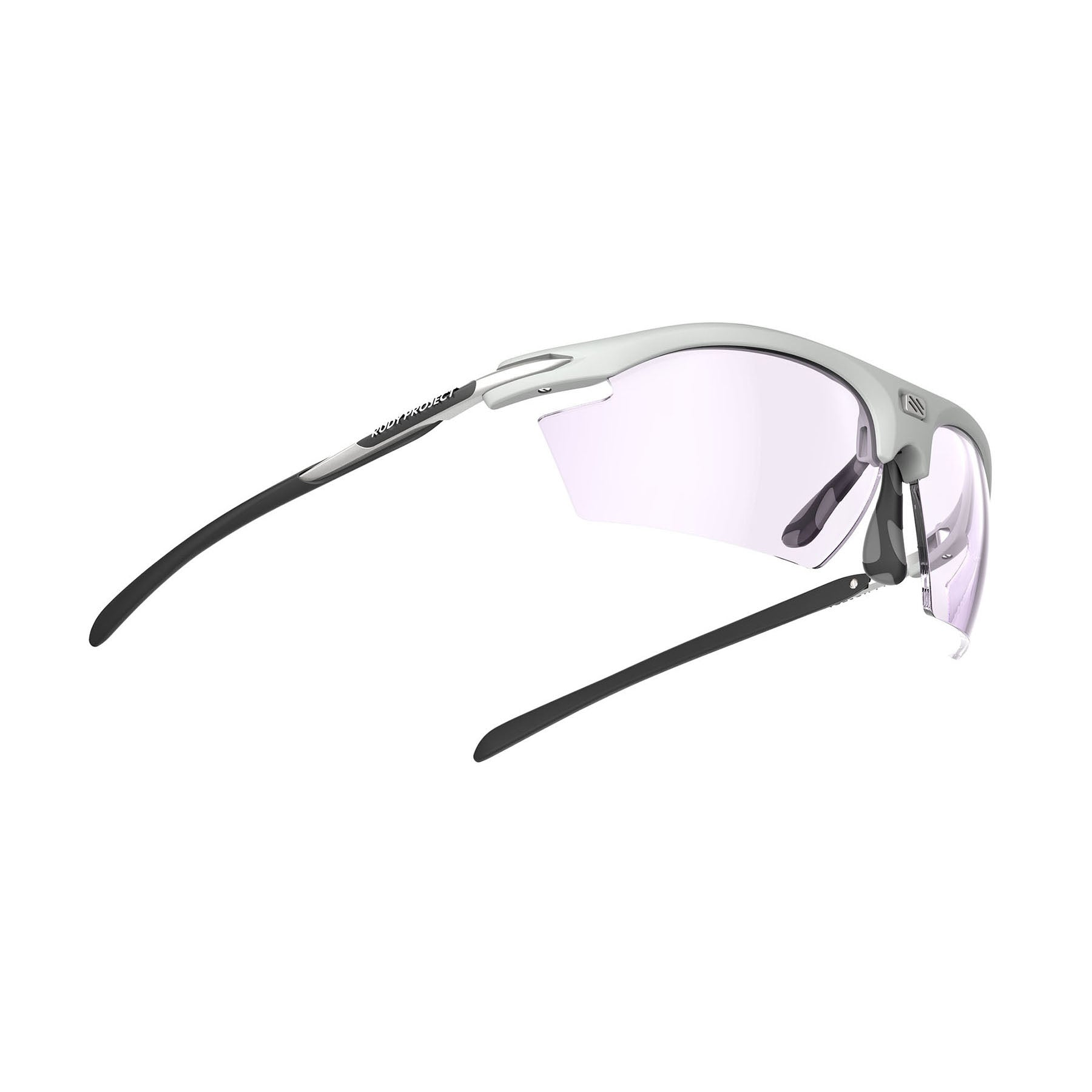 Rudy Project - Rydon Running - frame color: Light Grey - lens color: ImpactX-2 Photochromic Clear to Laser Purple - photo angle: Bottom Front Angle Variant Hover Image