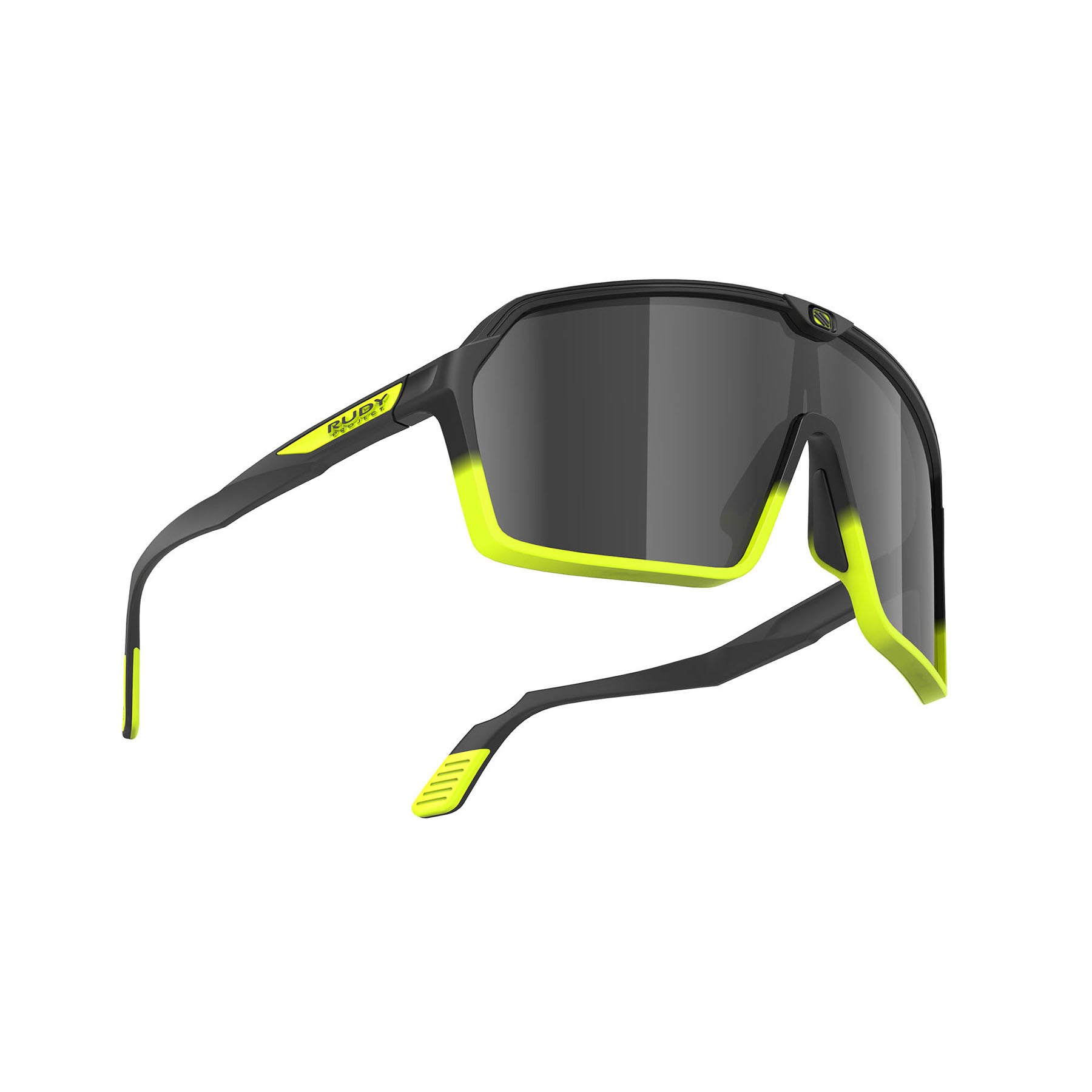 Rudy Project - Spinshield - frame color: Matte Black Yellow Fluo - lens color: Smoke Black - photo angle: Bottom Front Angle Variant Hover Image