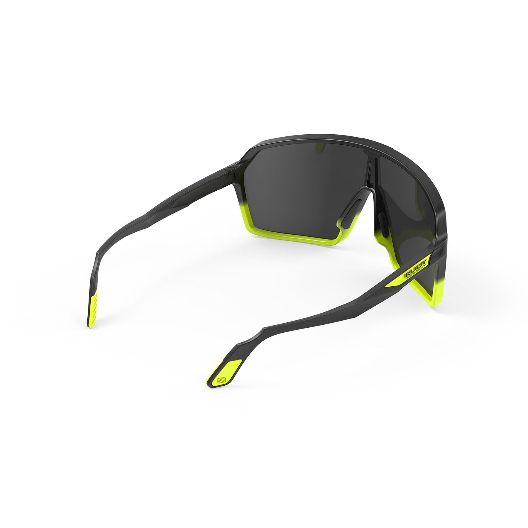 Rudy Project - Spinshield - frame color: Matte Black Yellow Fluo - lens color: Smoke Black - photo angle: Top Back Angle Variant Hover Image