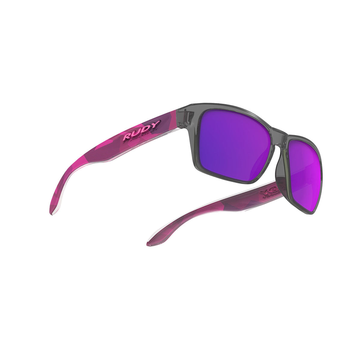 Rudy Project - Spinhawk Slim - frame color: Neo Camo Crystal Wine - lens color: Multilaser Violet - Bumper Color:  - photo angle: Bottom Front Angle Variant Hover Image
