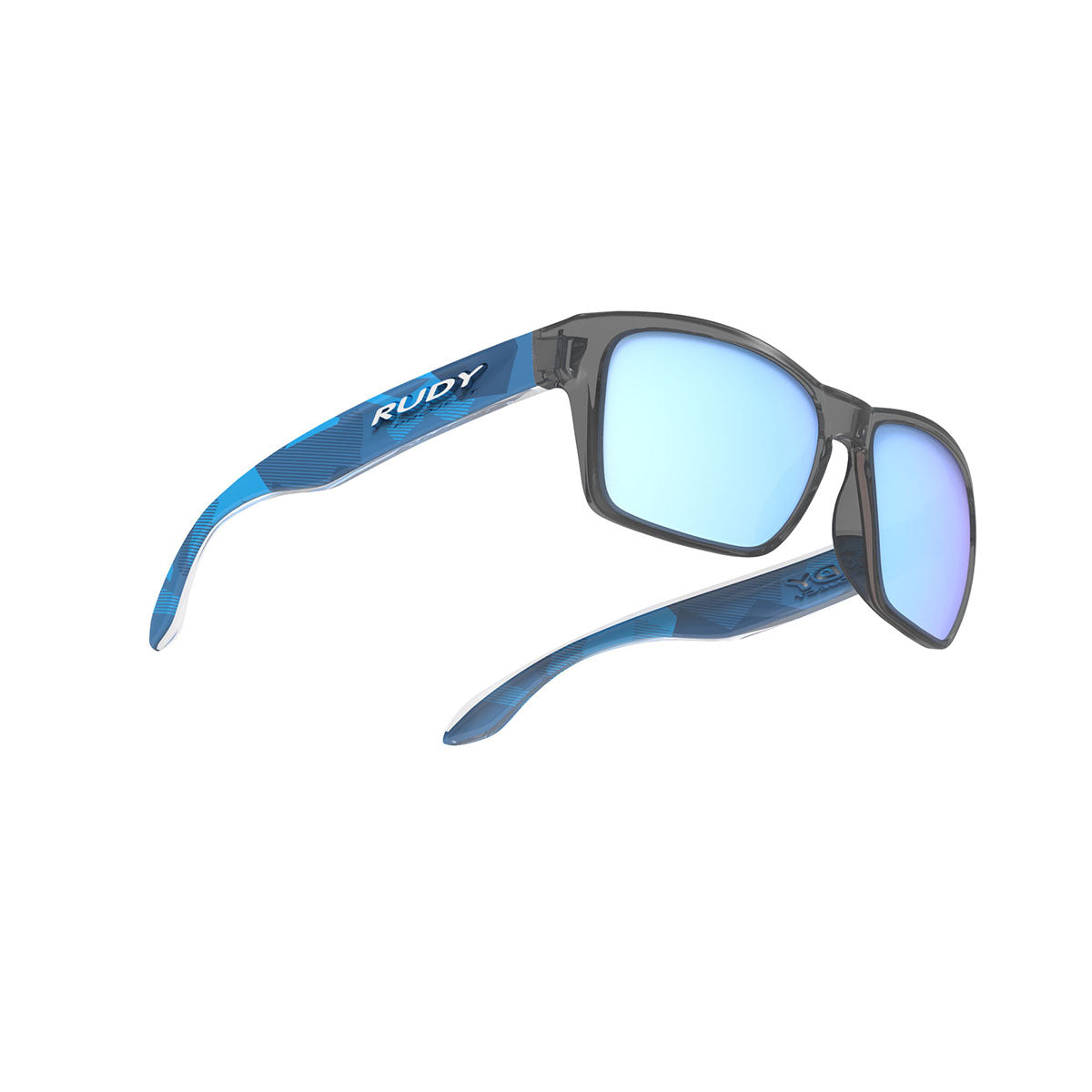 Rudy Project - Spinhawk Slim - frame color: Neo Camo Crystal Blue - lens color: Multilaser Ice - Bumper Color:  - photo angle: Bottom Front Angle Variant Hover Image