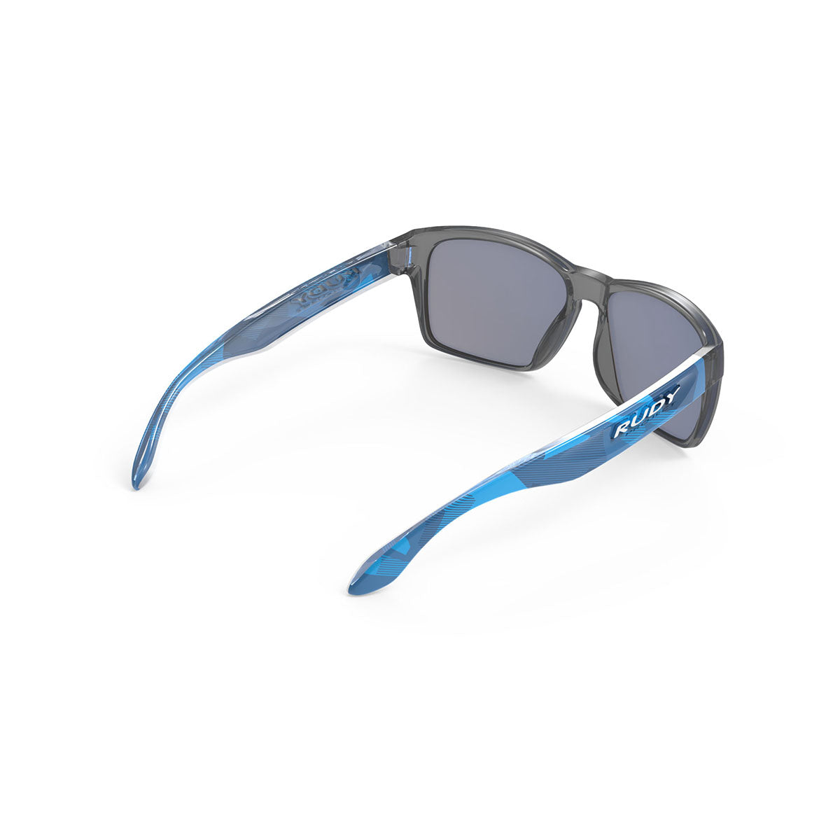 Rudy Project - Spinhawk Slim - frame color: Neo Camo Crystal Blue - lens color: Multilaser Ice - Bumper Color:  - photo angle: Top Back Angle Variant Hover Image