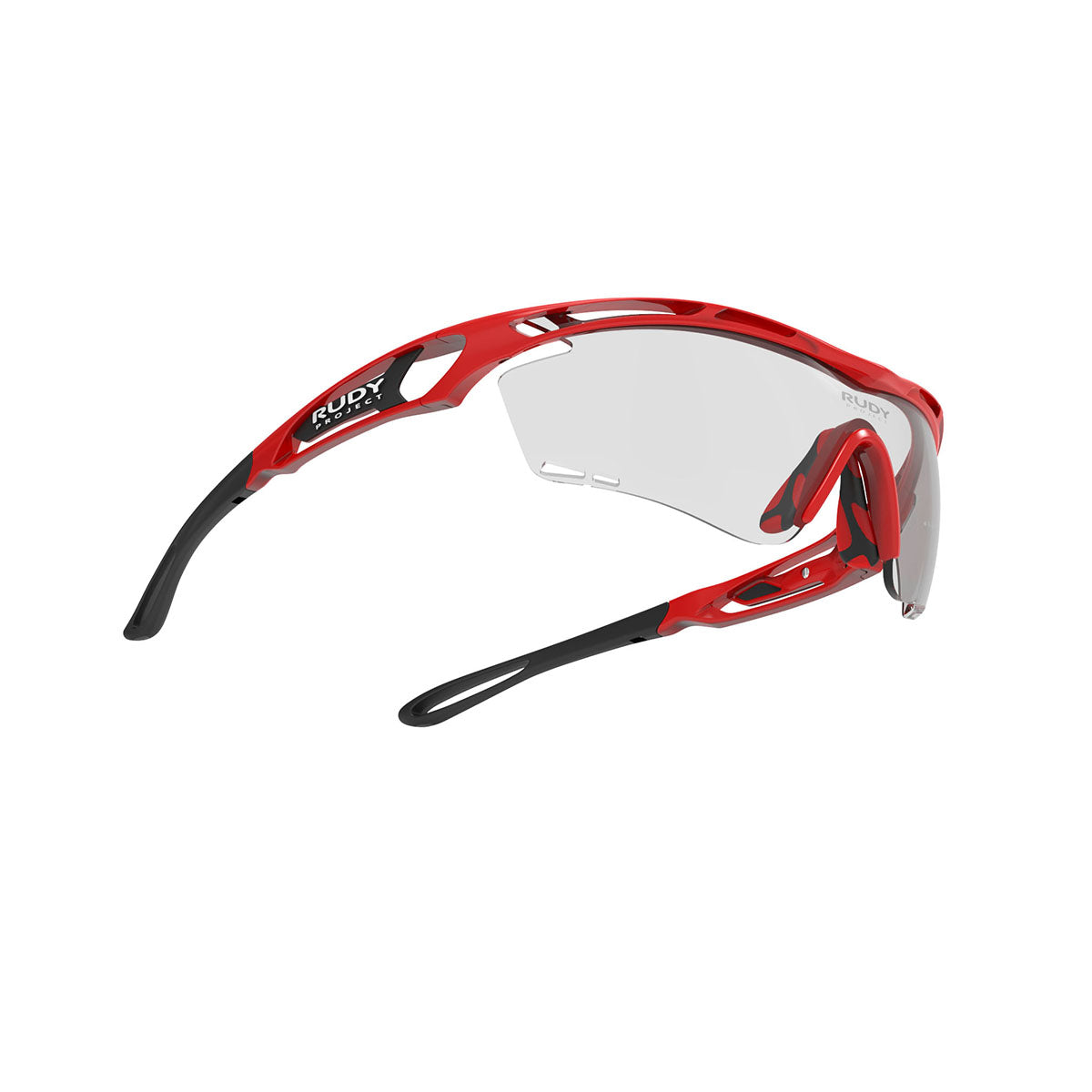 Rudy Project - Tralyx - frame color: Fire Red Gloss - lens color: ImpactX-2 Photochromic Clear to Black - photo angle: Bottom Front Angle Variant Hover Image