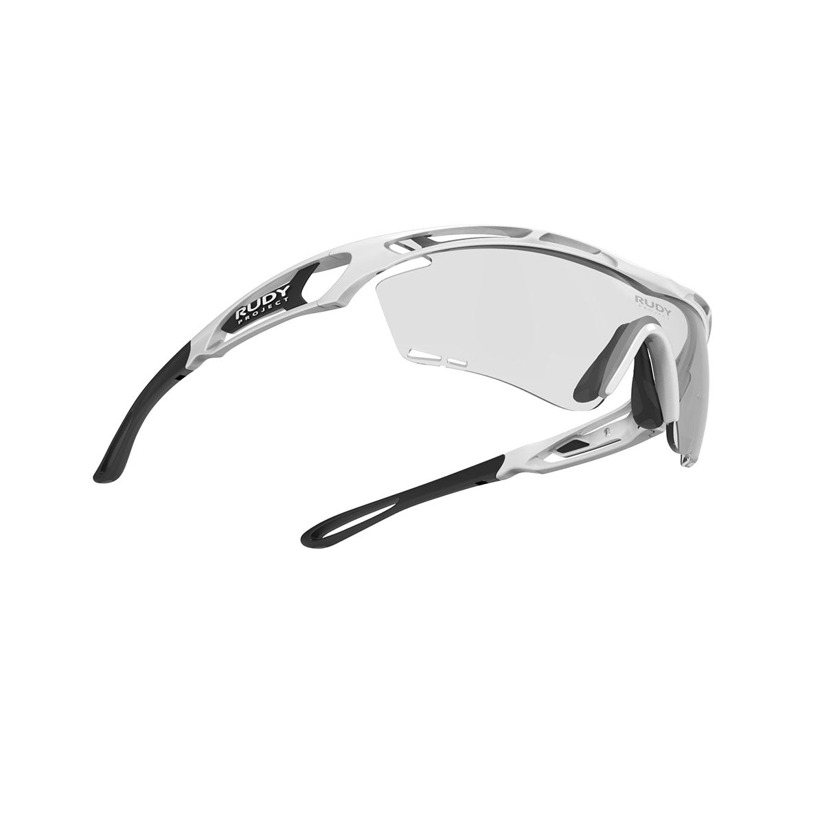 Rudy Project - Tralyx - frame color: White Gloss - lens color: ImpactX-2 Photochromic Clear to Black - photo angle: Bottom Front Angle Variant Hover Image
