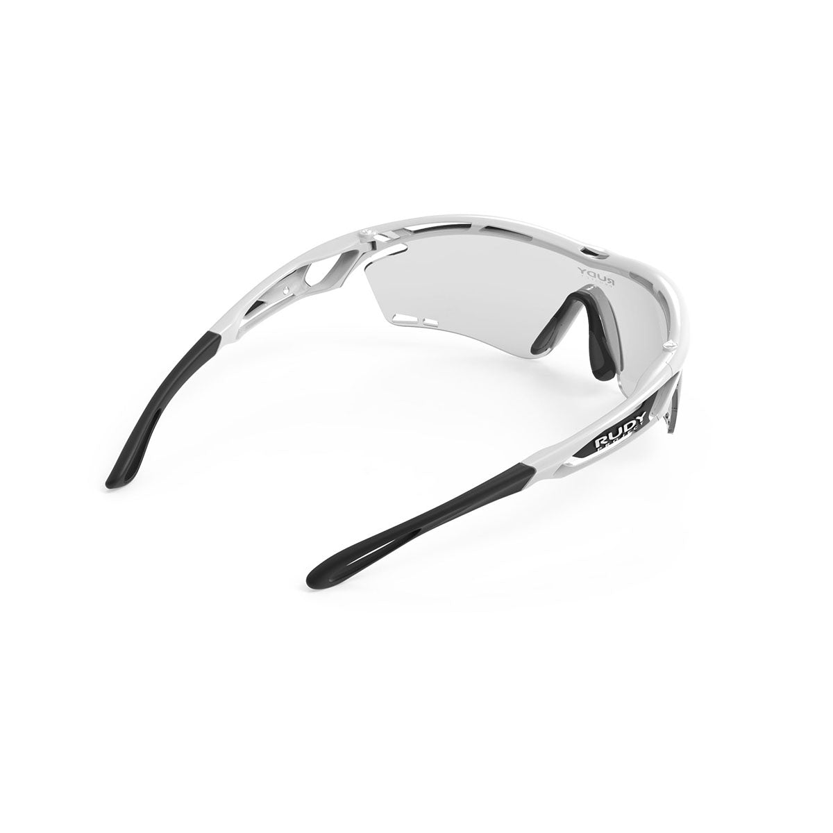 Rudy Project - Tralyx - frame color: White Gloss - lens color: ImpactX-2 Photochromic Clear to Black - photo angle: Top Back Angle Variant Hover Image