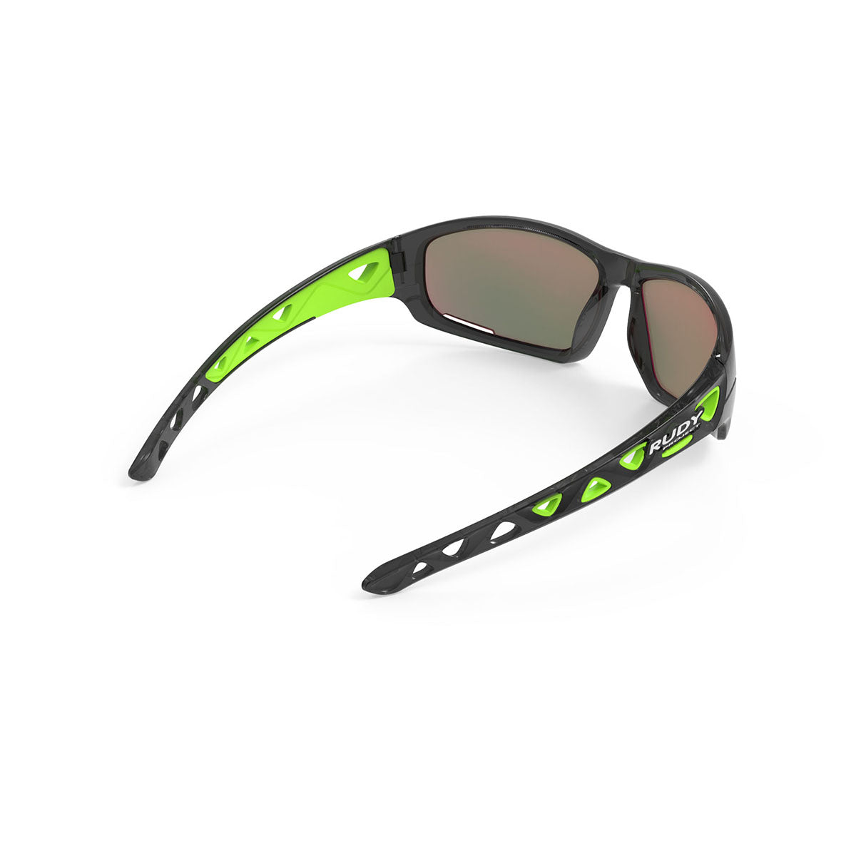 Rudy Project - Airgrip - frame color: Crystal Graphite - lens color: Multilaser Green - Pad Color: Green - photo angle: Top Back Angle Variant Hover Image