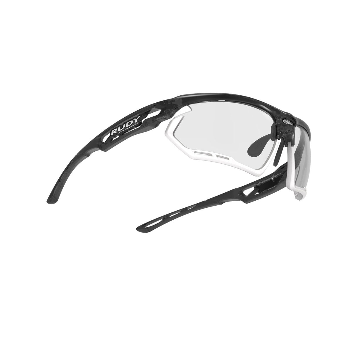 Rudy Project - Fotonyk - frame color: Crystal Graphite - lens color: ImpactX-2 Photochromic Clear to Black - Bumper Color: White - photo angle: Bottom Front Angle Variant Hover Image