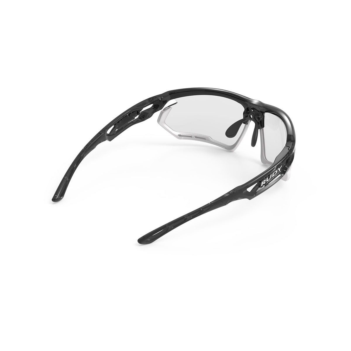 Rudy Project - Fotonyk - frame color: Crystal Graphite - lens color: ImpactX-2 Photochromic Clear to Black - Bumper Color: White - photo angle: Top Back Angle Variant Hover Image