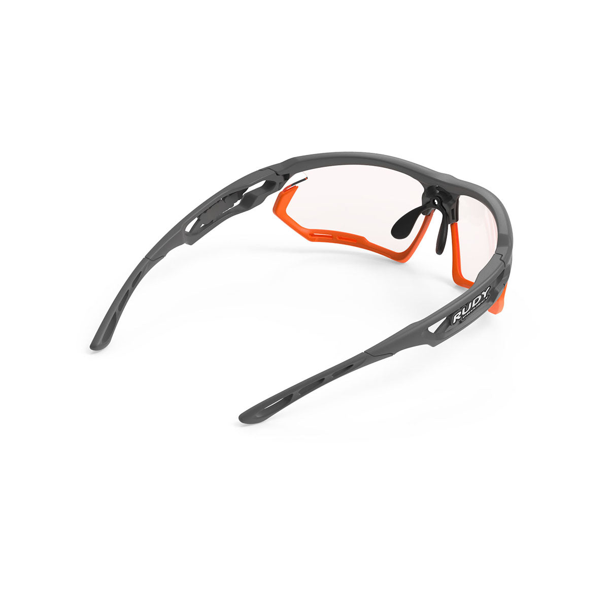 Rudy Project - Fotonyk - frame color: Pyombo Matte - lens color: ImpactX-2 Photochromic Clear to Red - Bumper Color: Mandarin - photo angle: Top Back Angle Variant Hover Image