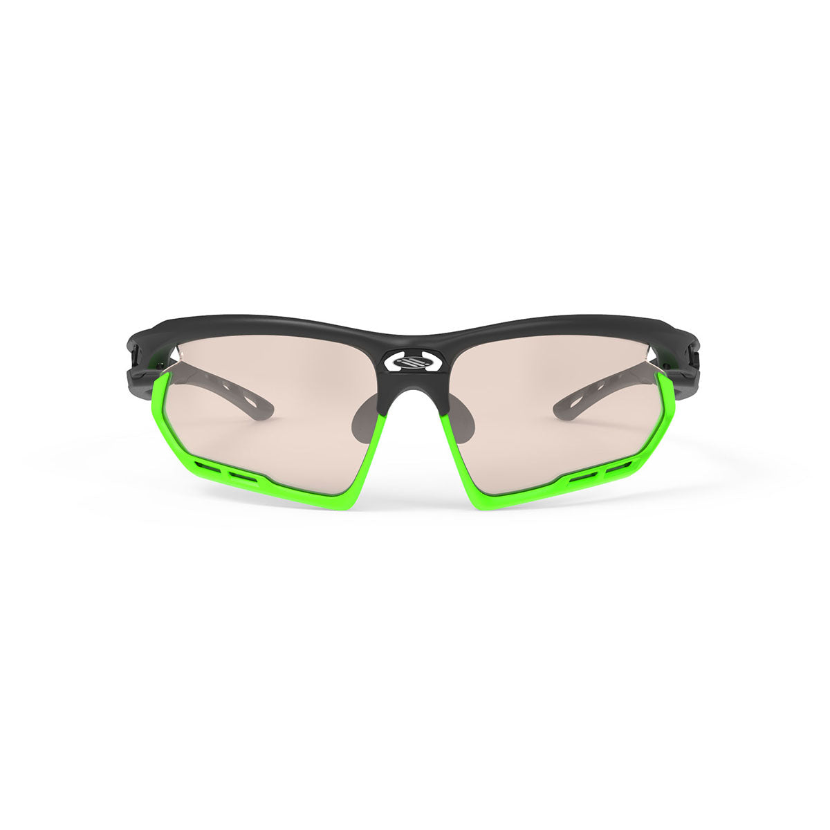 Rudy Project - Fotonyk - frame color: Matte Black - lens color: ImpactX-2 Photochromic Clear to Laser Brown - Bumper Color: Lime - photo angle: Front View Variant Hover Image