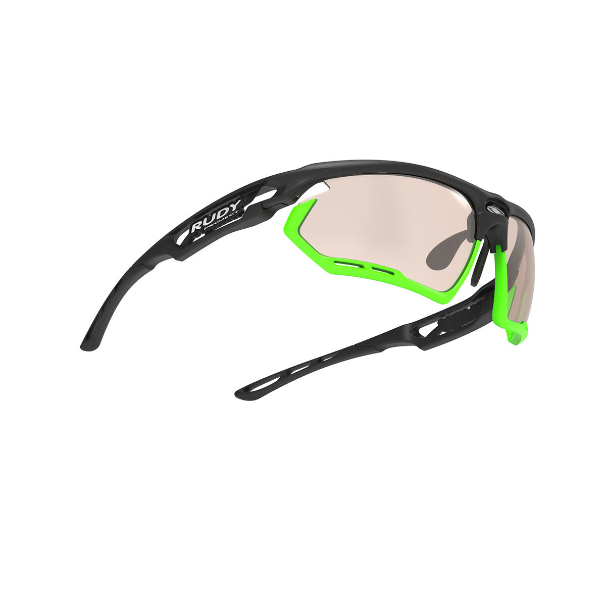 Rudy Project - Fotonyk - frame color: Matte Black - lens color: ImpactX-2 Photochromic Clear to Laser Brown - Bumper Color: Lime - photo angle: Bottom Front Angle Variant Hover Image