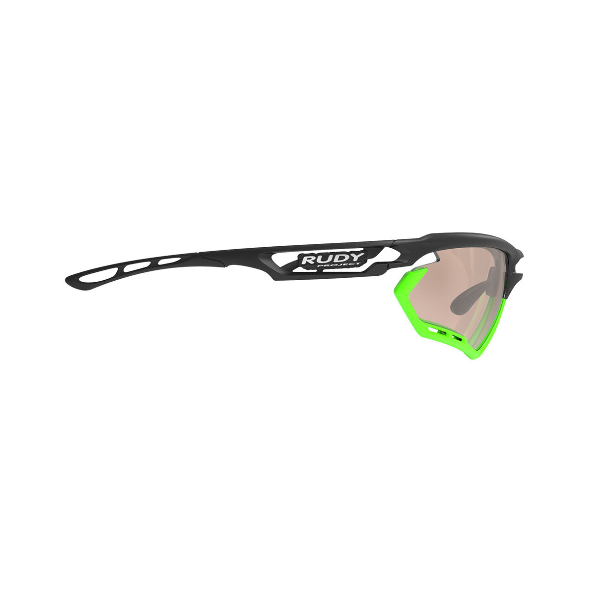 Rudy Project - Fotonyk - frame color: Matte Black - lens color: ImpactX-2 Photochromic Clear to Laser Brown - Bumper Color: Lime - photo angle: Side Variant Hover Image
