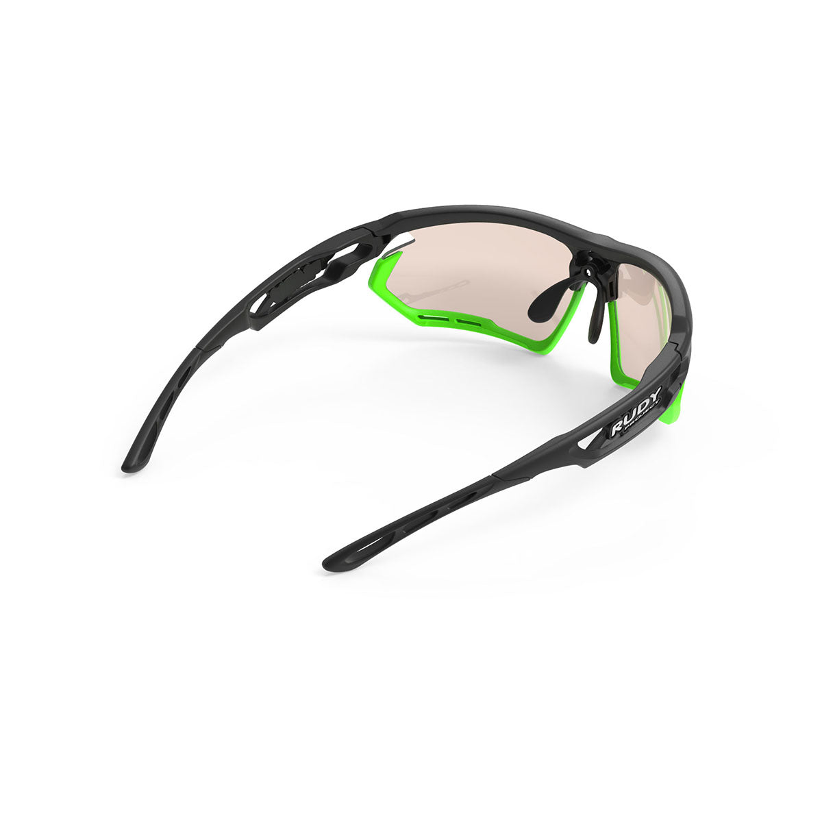 Rudy Project - Fotonyk - frame color: Matte Black - lens color: ImpactX-2 Photochromic Clear to Laser Brown - Bumper Color: Lime - photo angle: Top Back Angle Variant Hover Image