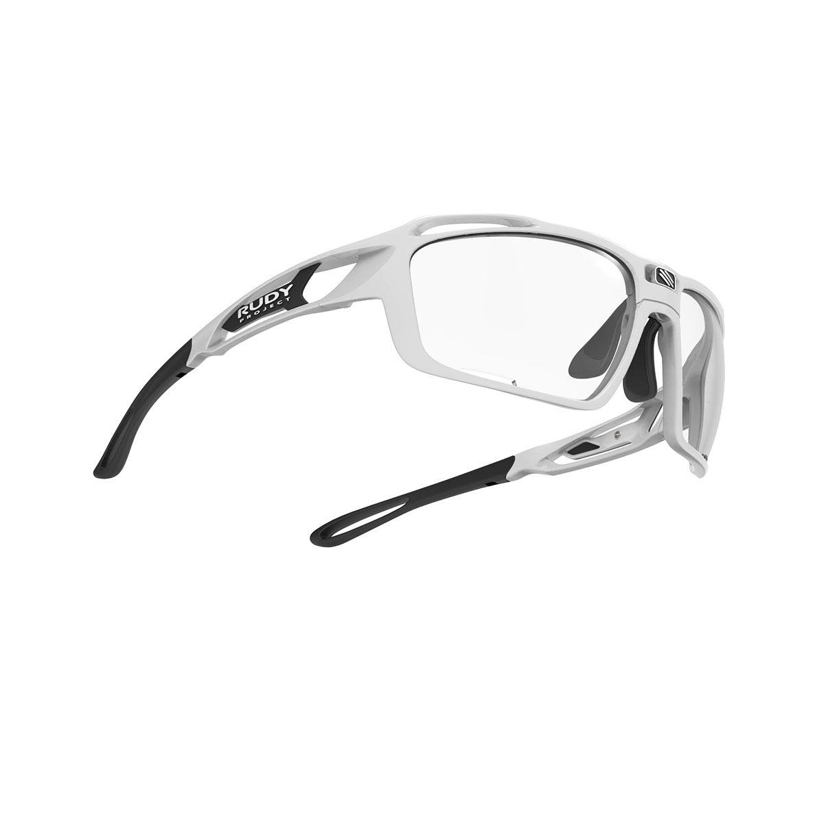 Rudy Project - Sintryx - frame color: White Gloss - lens color: ImpactX-2 Photochromic Clear to Black - Bumper Color:  - photo angle: Bottom Front Angle Variant Hover Image