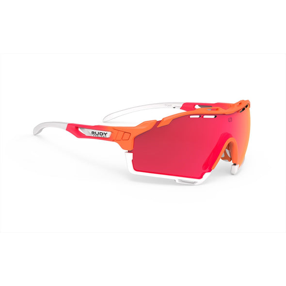 cutline | cutline Mandarin Fade Coral Frame with Multilaser Red Lenses White Bumpers