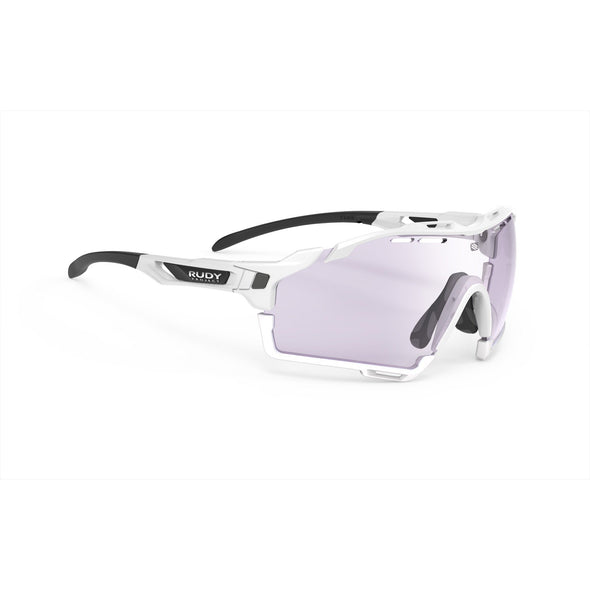 cutline | cutline White Gloss Frame with ImpactX-2 Photochromic Clear to Laser Purple Lenses White Bumpers