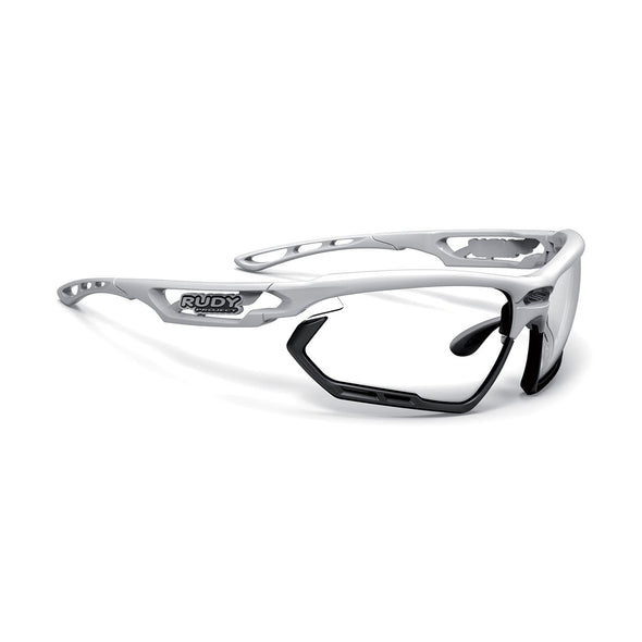 fotonyk | fotonyk White Gloss Frame and ImpactX-2 Photochromic Clear to Black Lenses Black Bumpers