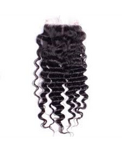 Virgin Brazilian Deep Wave Lace Closure Snaps Attached-10% DISCOUNT CODE V9SQ-0208-TKM6