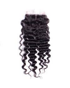 Virgin Peruvian Lace Closure Deep Wave Snaps Attached