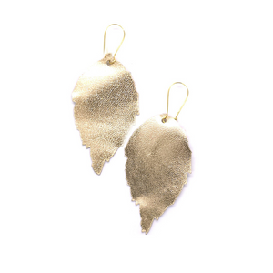 Siobhan Daly Leather Leaf Earrings - GOLD
