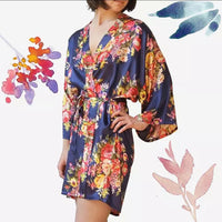 Floral Satin Robe-NAVY