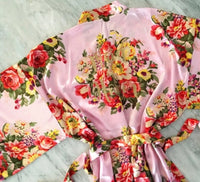 Floral Satin Robe-BLUSH