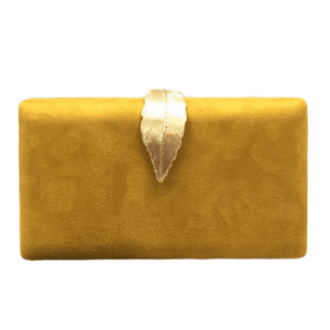 Mustard gold leaf suede clutch