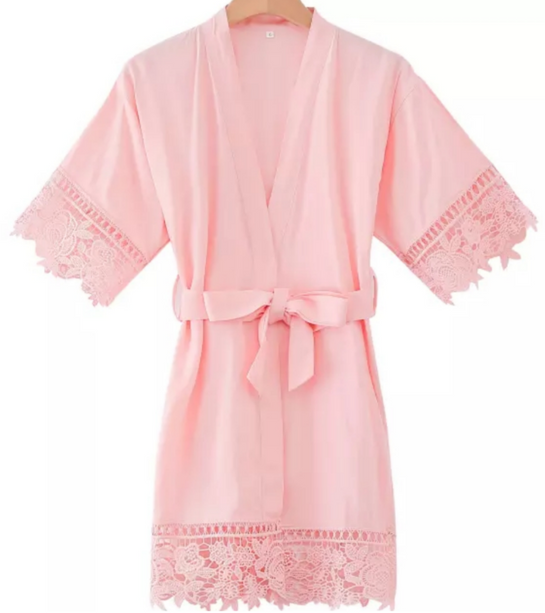 Kids lace edge robe BLUSH