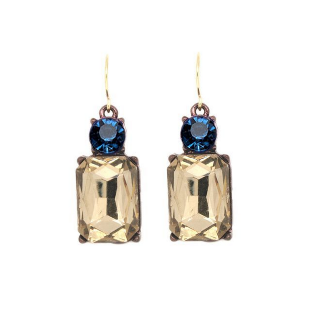 Blue & amber drop earrings