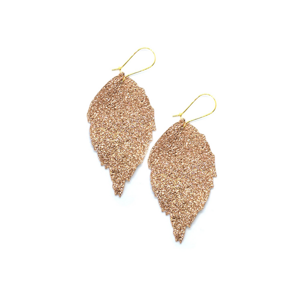 Siobhan Daly Leather Leaf Earrings - ROSE GOLD