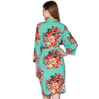 Floral Cotton Robe in AQUA