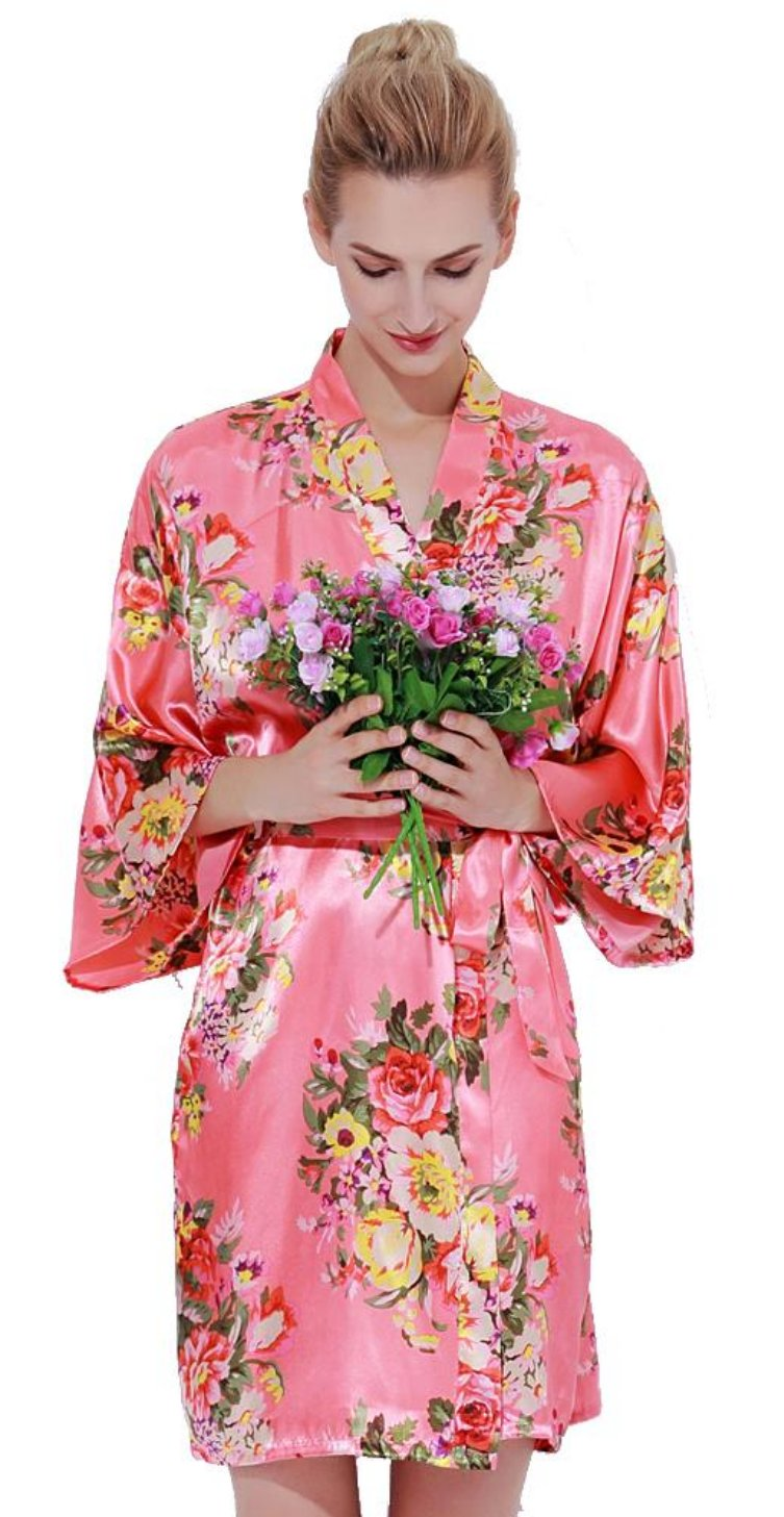 Floral Satin Robe-CORAL