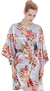 Floral Satin Robe-GREY