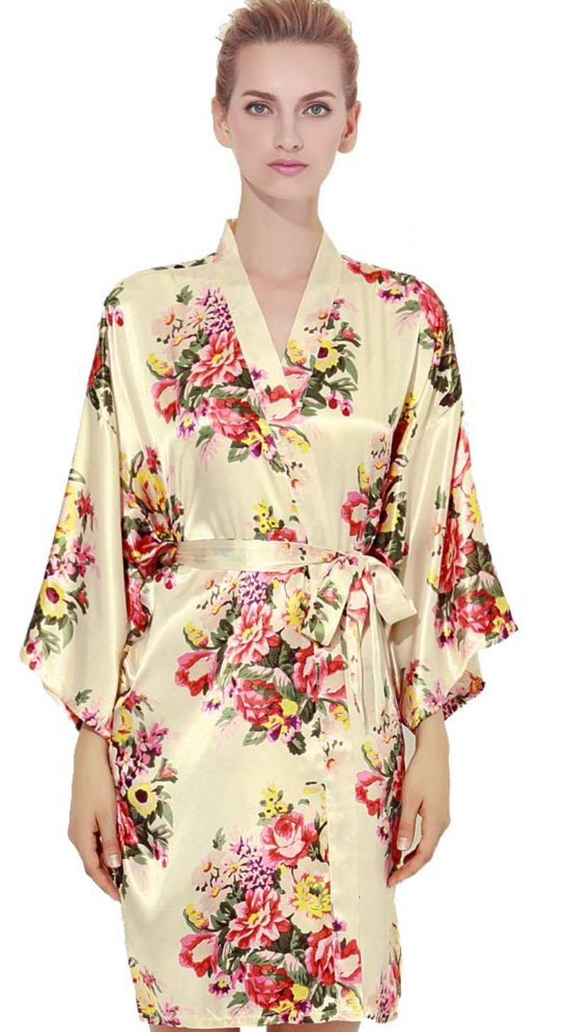 Floral Satin Robe-CHAMPAGNE