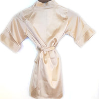 Kids floral satin robe in Champagne
