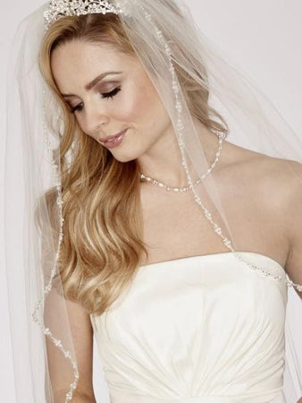 Crystal Beaded Edge Veil - Single Tier Cathedral