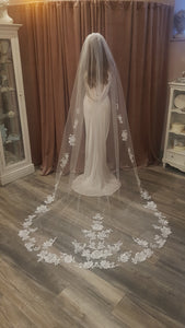 Floral applique veil - Cathedral Length