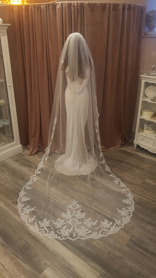 Lace & Crystal Edge Veil - Cathedral Length