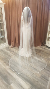 Satin edge soft tulle veil - Single Tier Cathedral