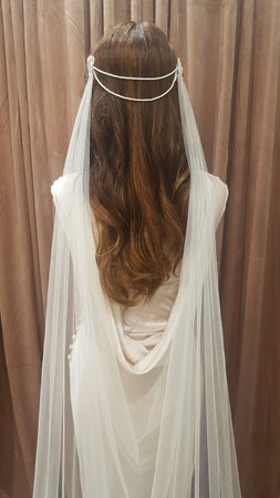 Andrea drapped back veil