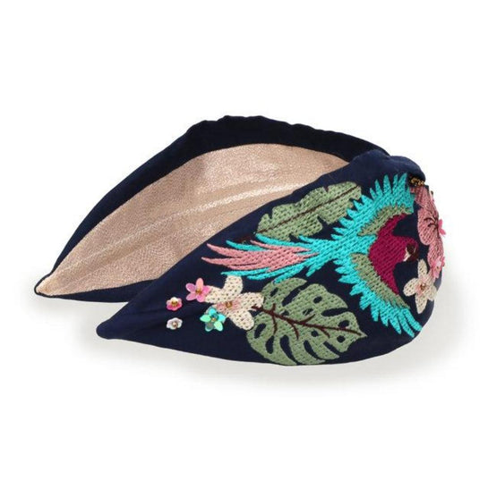 Parrot - Navy embroidered headband