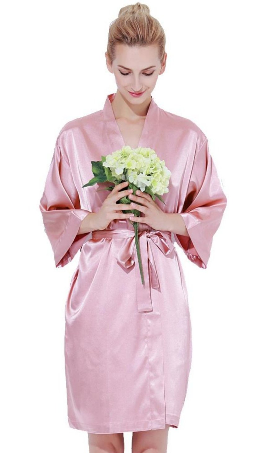 Solid Satin Robe-DUSTY ROSE