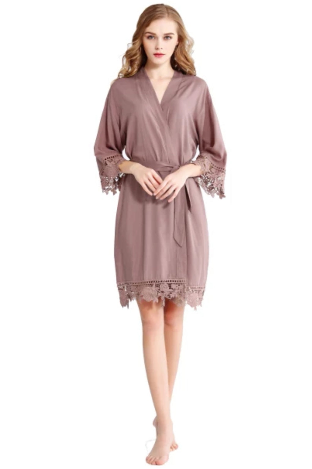 Lace Edge Robe in MAUVE