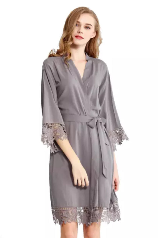 Lace Edge Robe in GREY