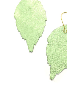 Siobhan Daly Leather Leaf Earrings - LIME