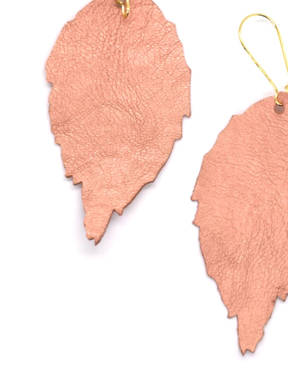 Siobhan Daly Leather Leaf Earrings - PINK