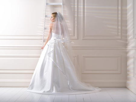 Wide Satin Edge Veil Two Tier Cathedral