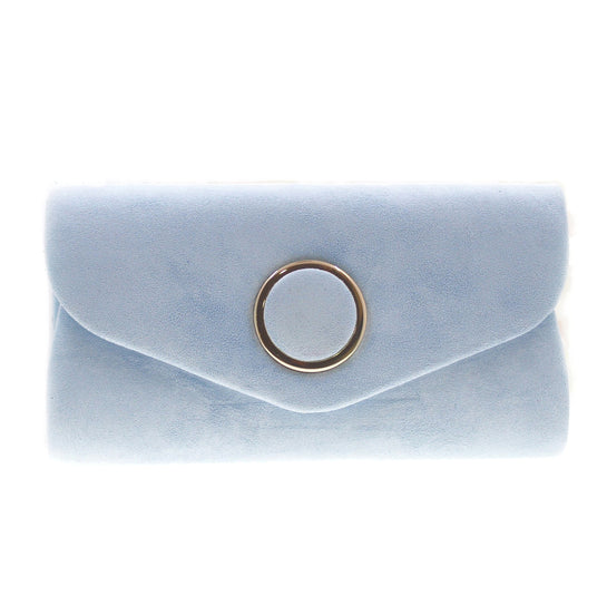 BABY BLUE suede clutch